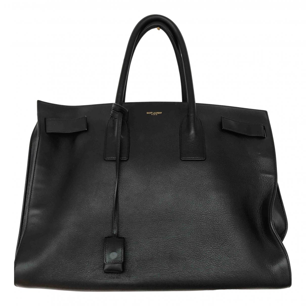 Saint Laurent Sac de Jour Handtasche in  Schwarz Leder