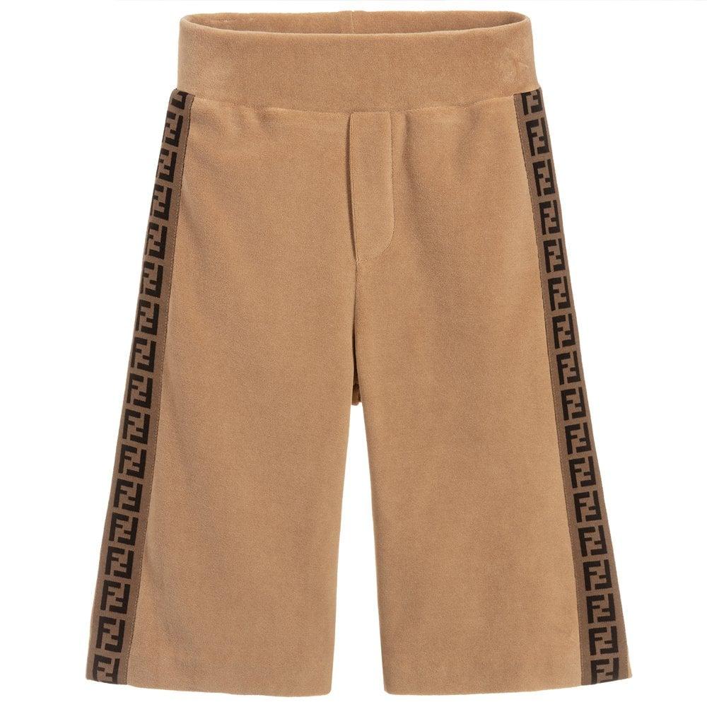 Fendi Kids Velvet Velour Logo Shorts Colour: BEIGE, Size: 12+ YEARS