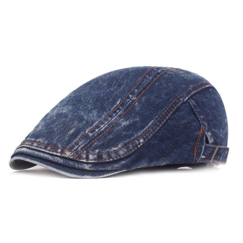 Unisex Washed Denim Retro Beret Cap Duck Hat Sunshade Casual Outdoors Adjustable Peaked Forward Cap