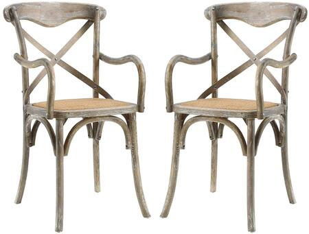 Gear Collection EEI-3479-GRY Set of 2 Dining Armchairs with Open Wooden Backrest  Natural Rattan Seat  Rustic Style  Tapered Legs and Stained Chinese