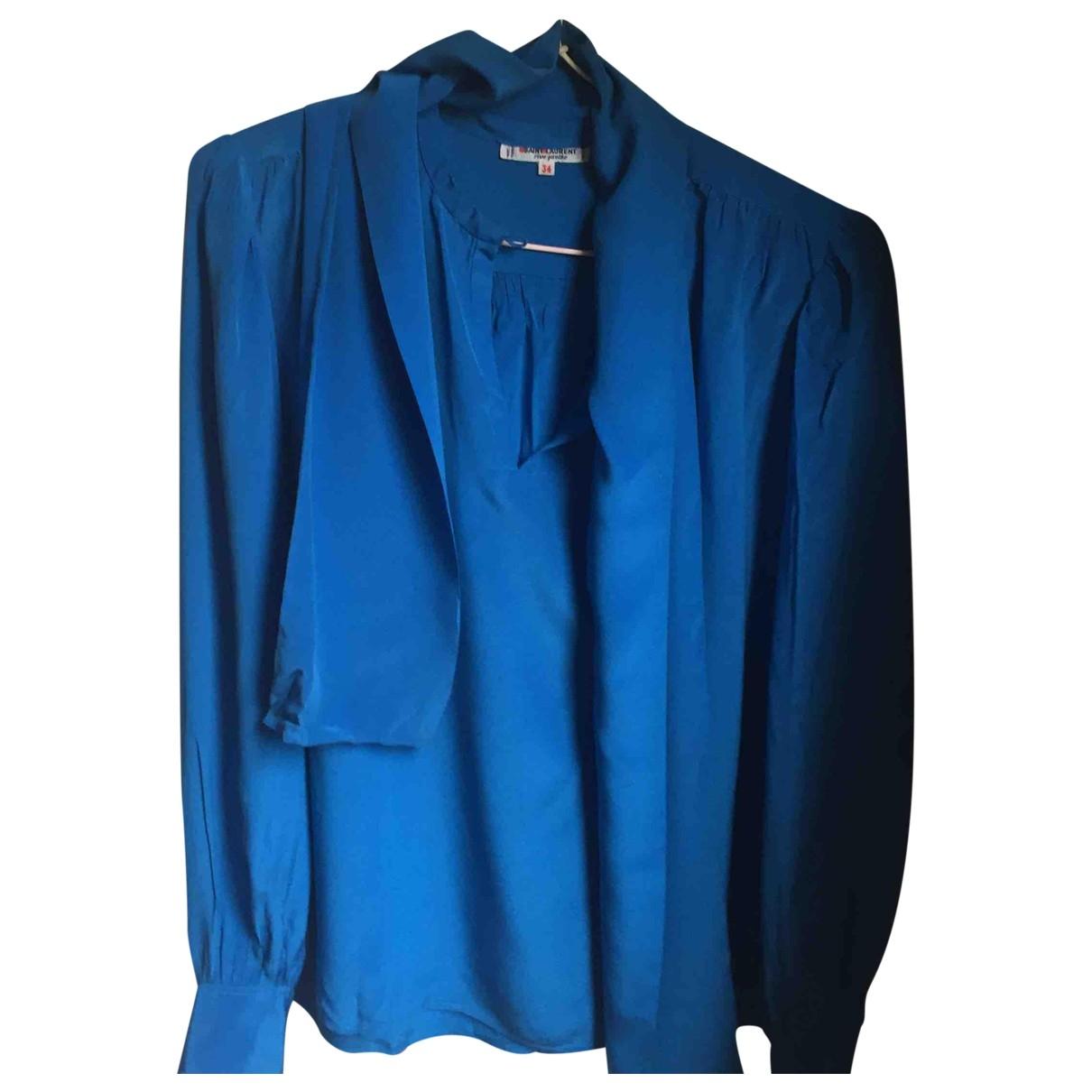 Saint Laurent - Top   pour femme en soie - bleu