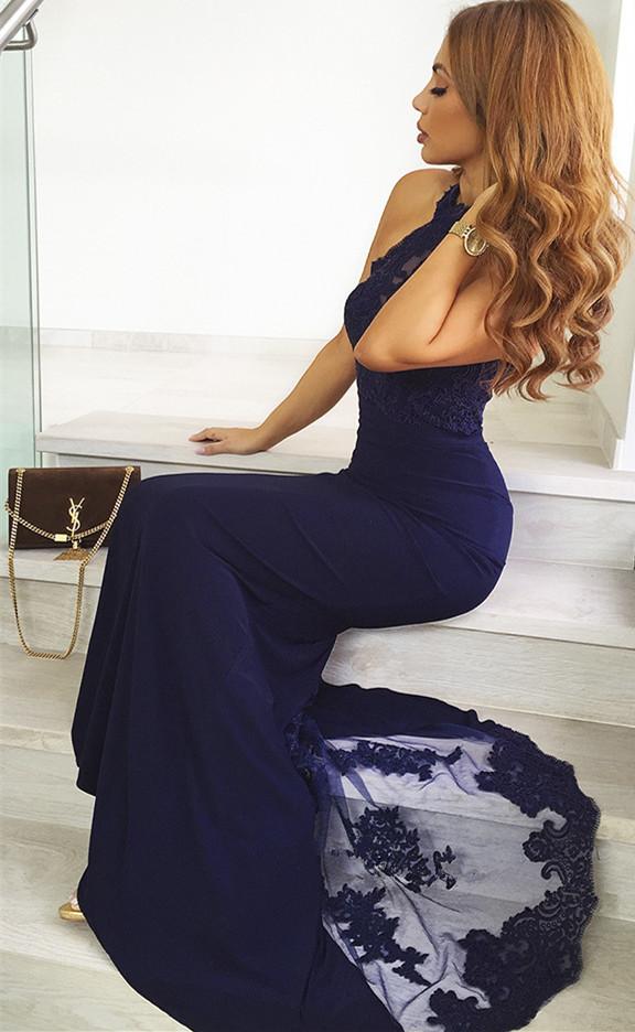 Vestidos de noche de encaje azul marino 2021 | Vestido de fiesta sin mangas de sirena sirena barato BC0952