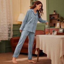 Conjunto de pijama con boton delantero con estampado floral