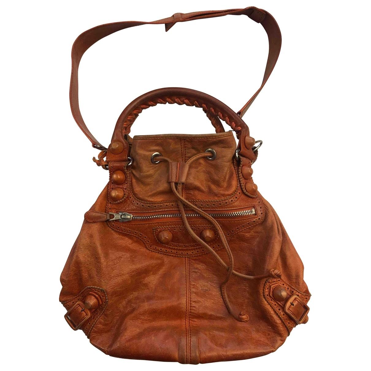 Balenciaga Pompon Orange Leather handbag for Women \N