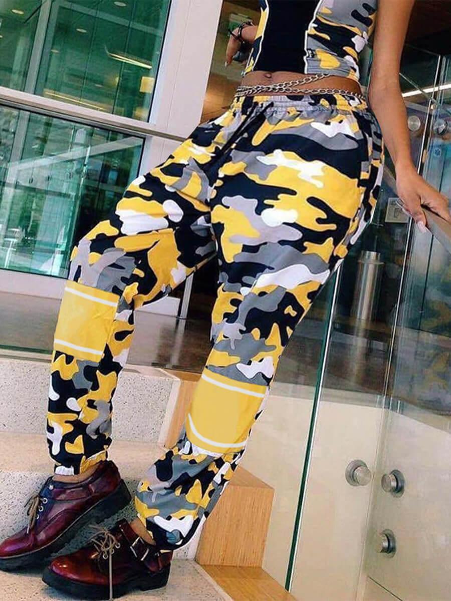 LW Lovely Street Camo Print Drawstring Yellow Plus Size Pants