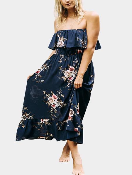Yoins Sexy Off Shoulder Random Floral Layered Print Dress