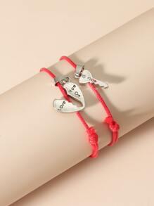 2pcs Heart Charm Bracelet
