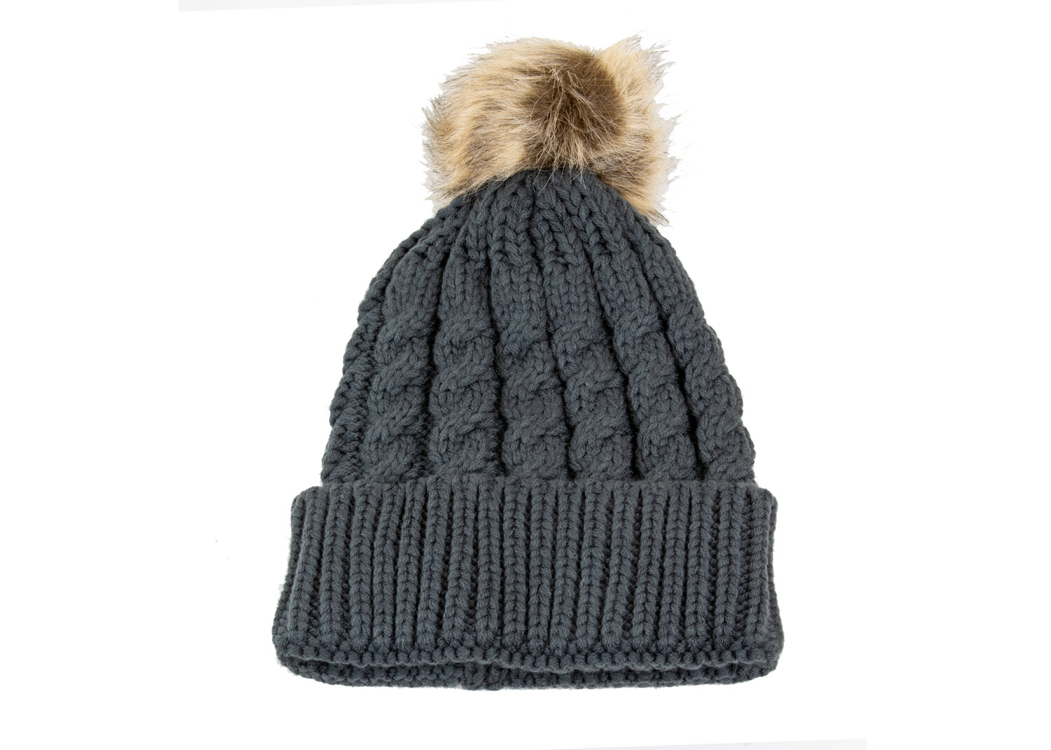 Exotic Identity Pom Pom Hat Cable Knit Arctic Cold Weather Wear for Women - M - Grey