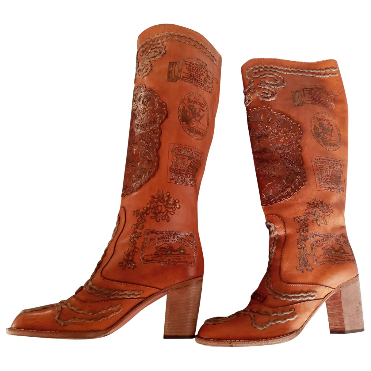 Anna Sui - Bottes   pour femme en cuir - marron