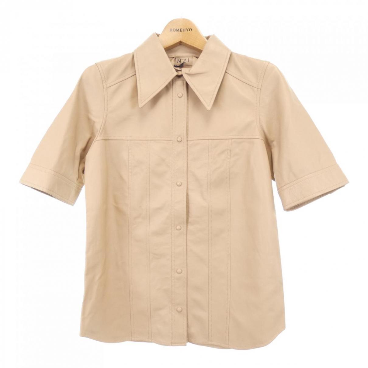 N°21 \N Beige Leather  top for Women 36 IT