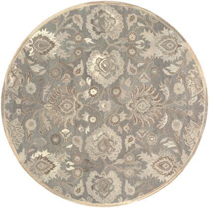 Caesar CAE-1195 4' Round Traditional Rug in Taupe  Camel  Cream  Light Grey  Dark