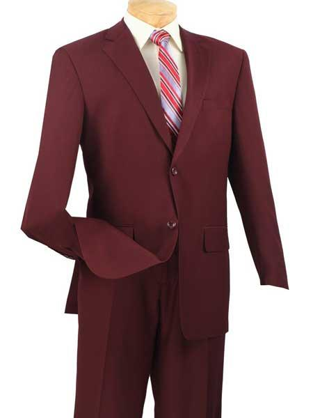 2 Piece Big And Tall Single Breasted Burgundy Extra Long Suit