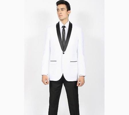Mens White Black Shawl Collar Slim Fit 2 Piece Tuxedo