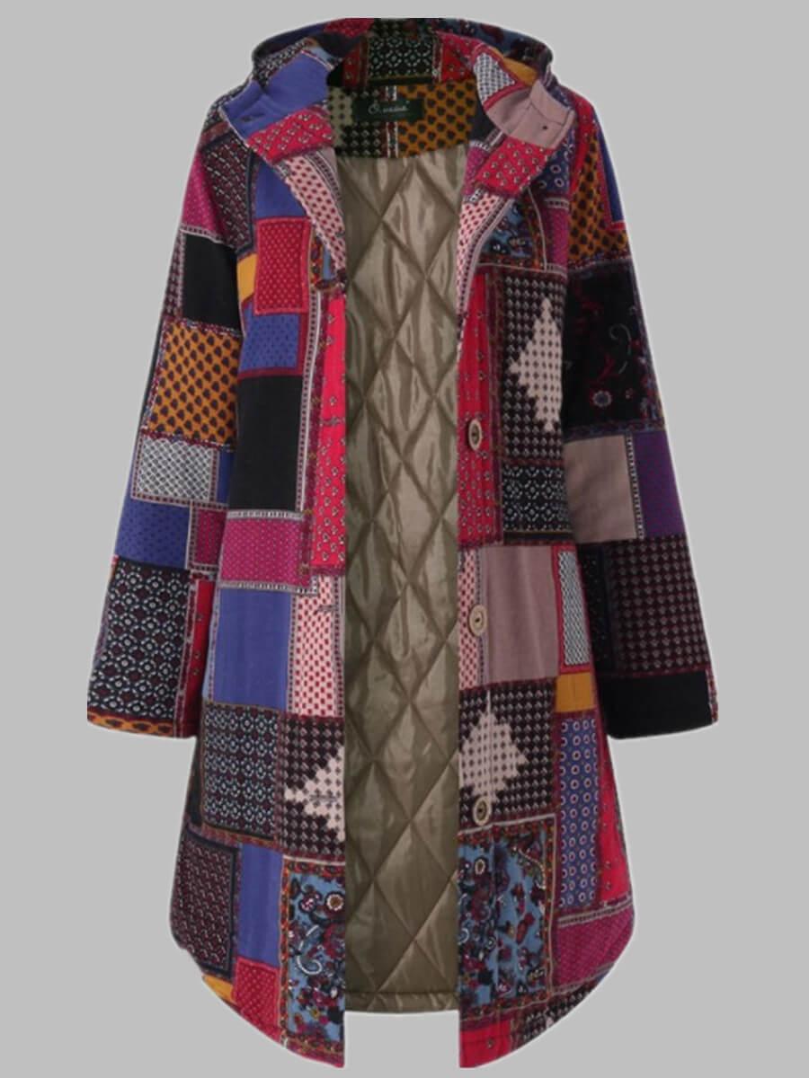 LW Lovely Trendy Hooded Collar Print Red Coat