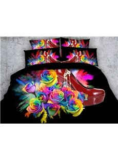 Red High-heel Shoe and Rose Printed Cotton 3D 4-Piece Black Bedding Sets