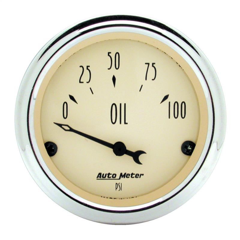 AutoMeter GAUGE; OIL PRESS; 2 1/16in.; 100PSI; ELEC; ANTIQUE BEIGE