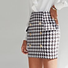 Buttoned Front Flap Detail Houndstooth Tweed Skirt