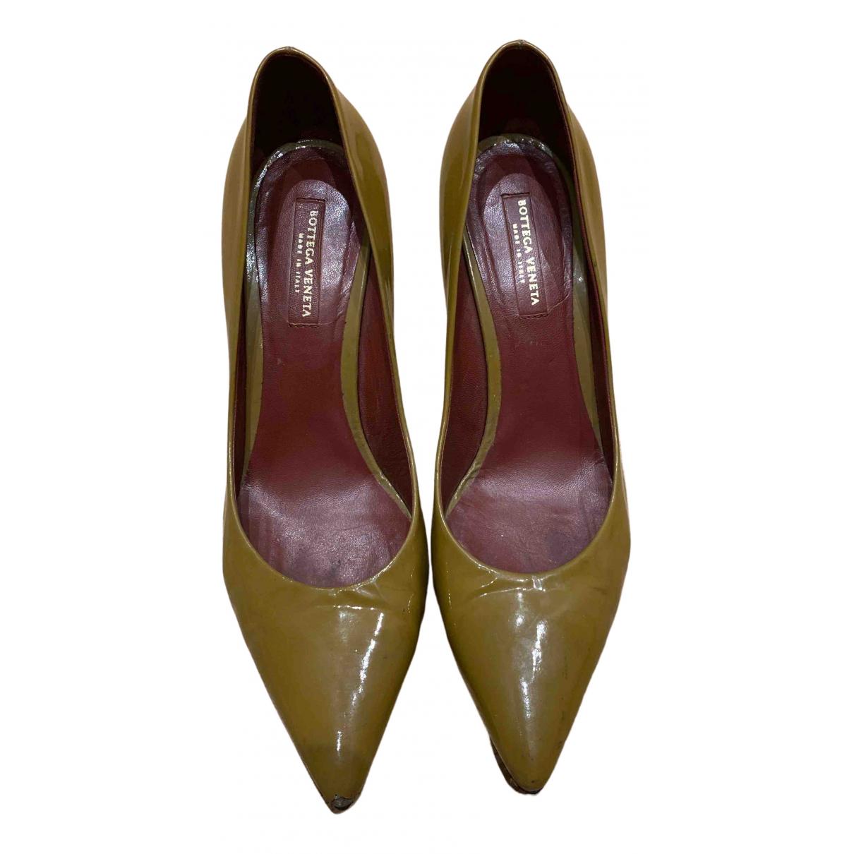 Bottega Veneta \N Khaki Patent leather Heels for Women 39 EU