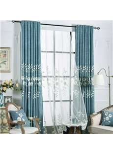 European Luxury Embossed Embroidered Floral Chenille Sheer Curtains for Living Room and Bedroom