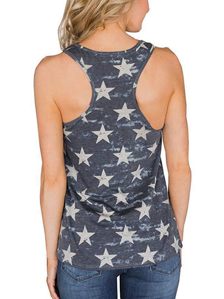 Milanoo Camo Tank Top The Stars And The Stripes Independence Day American Flag Sleeveless Summer Tee
