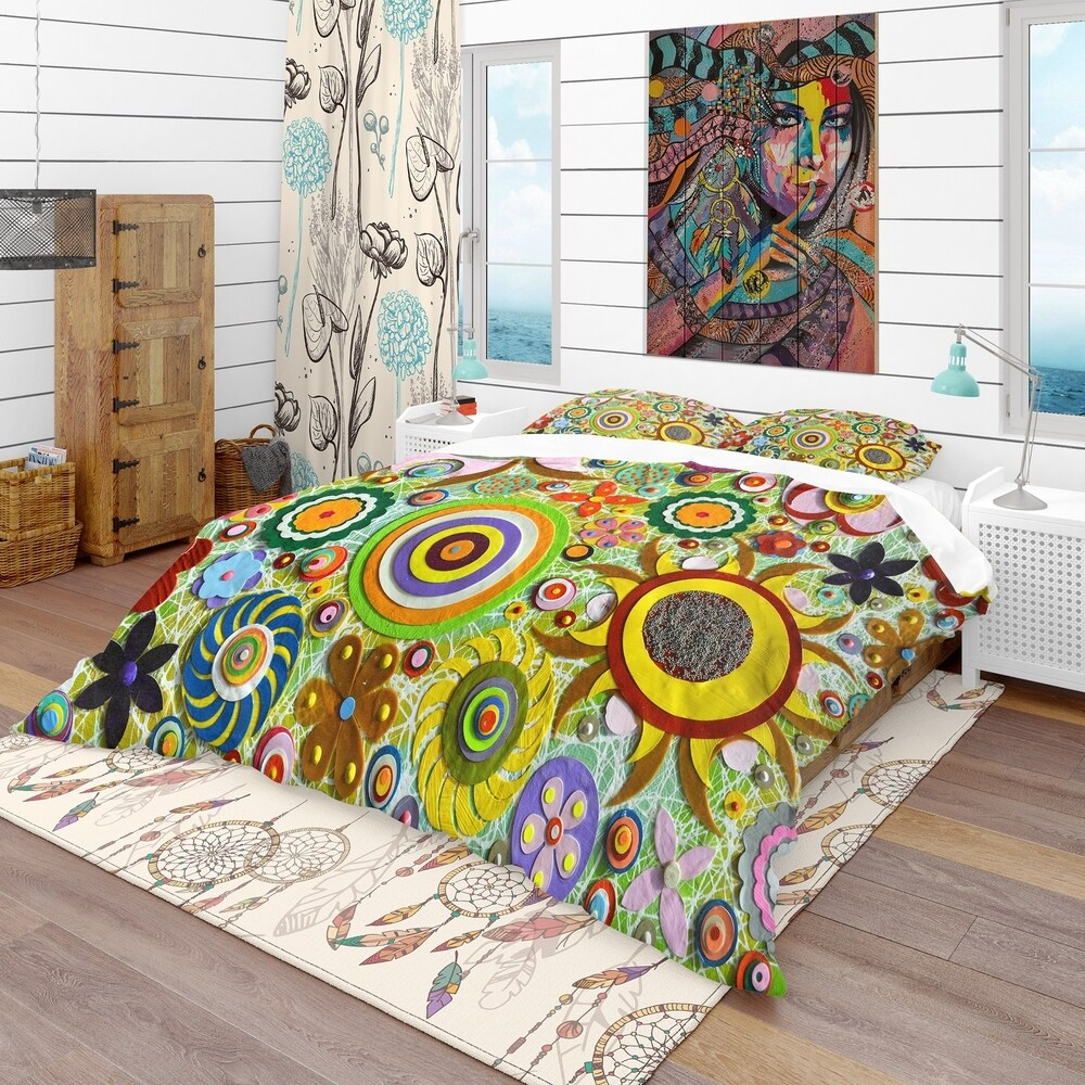 Designart 'Abstract Acrylic Painting on Canvas' Bohemian & Eclectic Bedding Set - Duvet Cover & Shams (Full/Queen Cover +2 Shams (comforter not