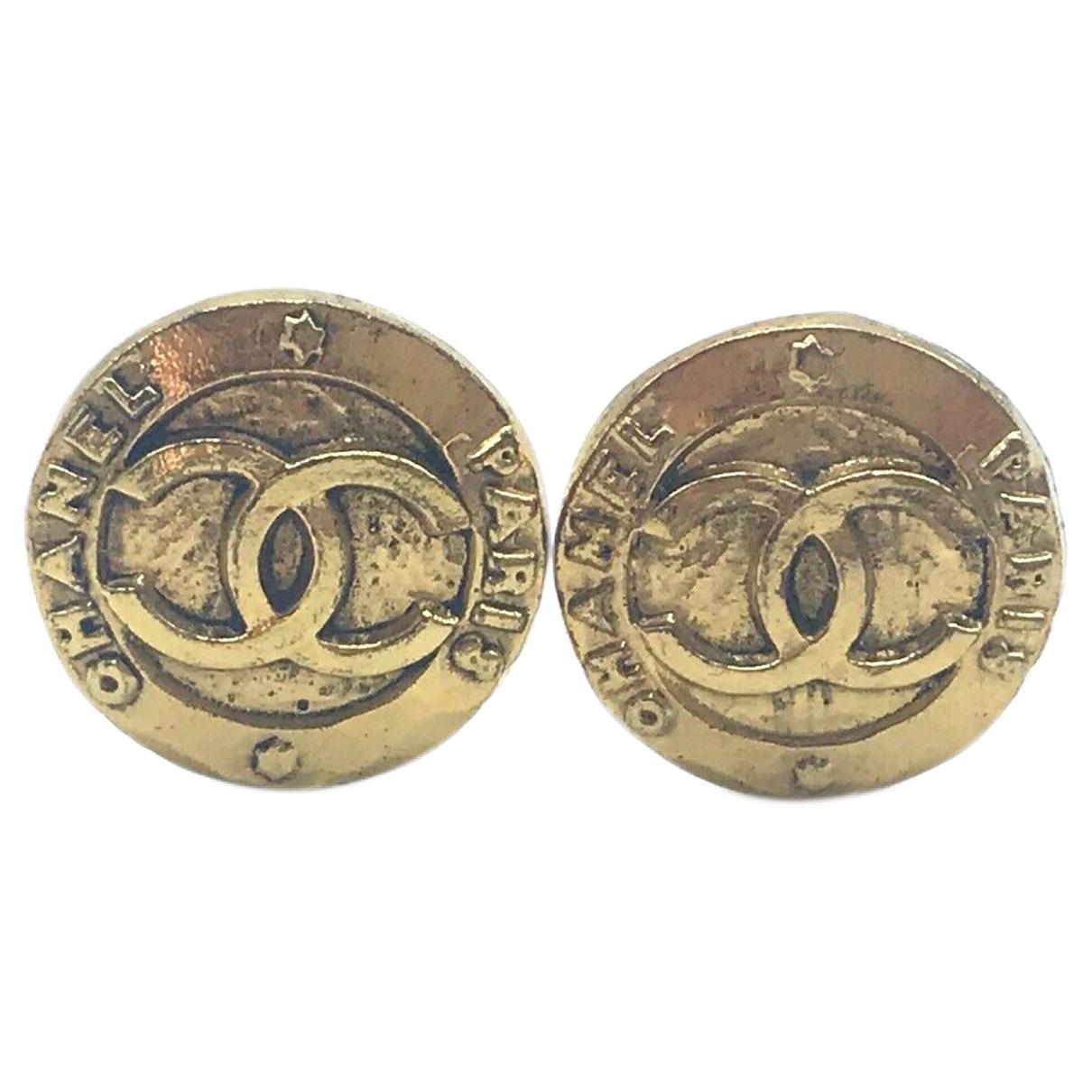 Chanel - Boucles doreilles CC pour femme en metal