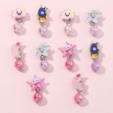 5 Paare Kleinkind Maedchen Ohrringe mit Stern Dekor