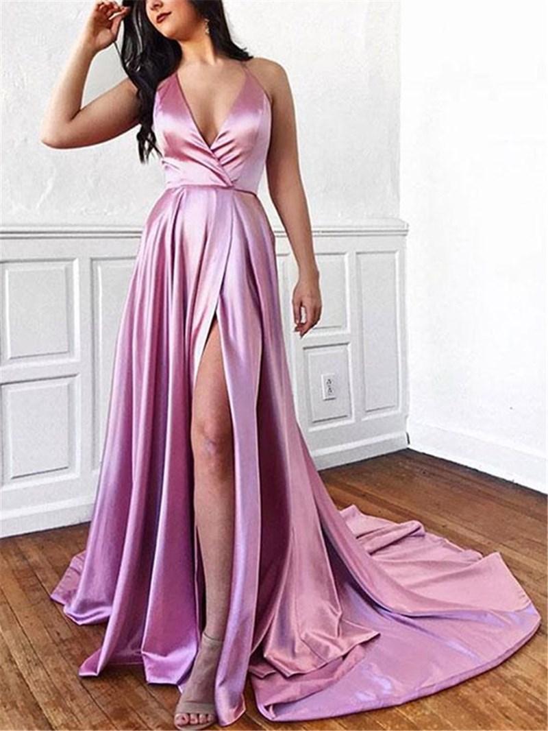Ericdress Halter Floor-Length A-Line Evening Dress With Split