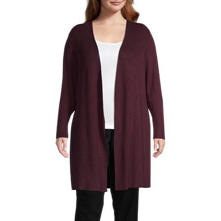 Worthington Womens Long Sleeve Cardigan-Plus, 3x , Red