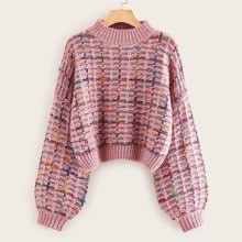 Mock-neck Boucle Knit Sweater