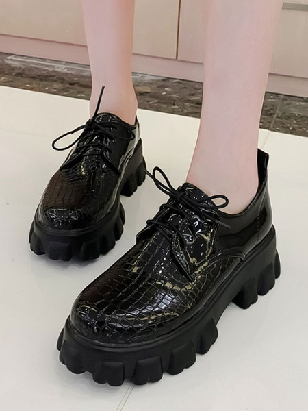 Milanoo Red Flatform Oxfords Women Round Toe PU Leather Lace Up Casual Shoes