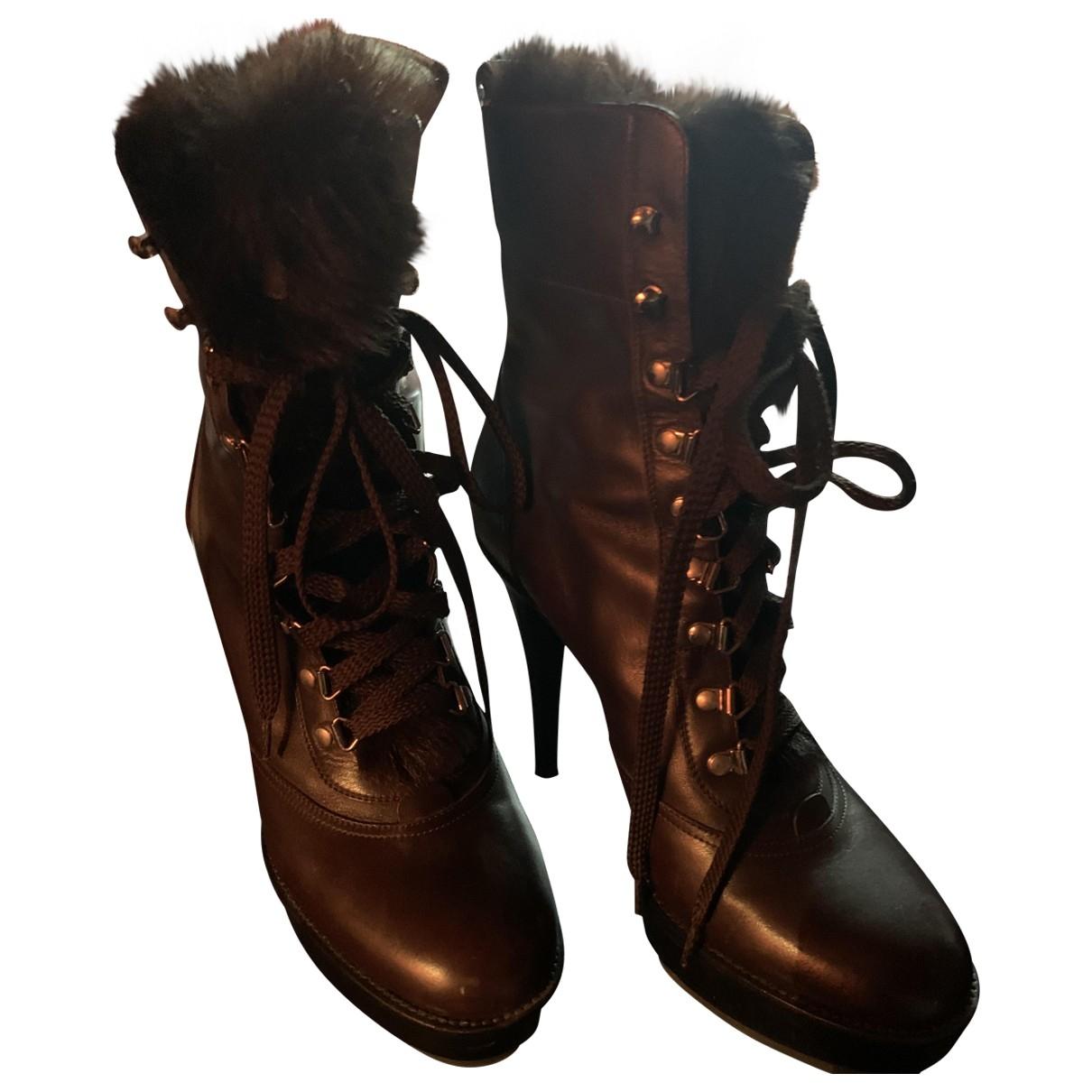 Gianvito Rossi - Boots   pour femme en cuir - marine