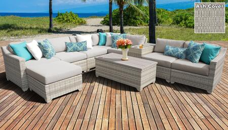 Fairmont Collection FAIRMONT-10b-ASH 10-Piece Patio Set 10b with 1 Corner Chair   4 Armless Chair   1 Ottoman   1 Cup Table   1 Storage Coffee Table