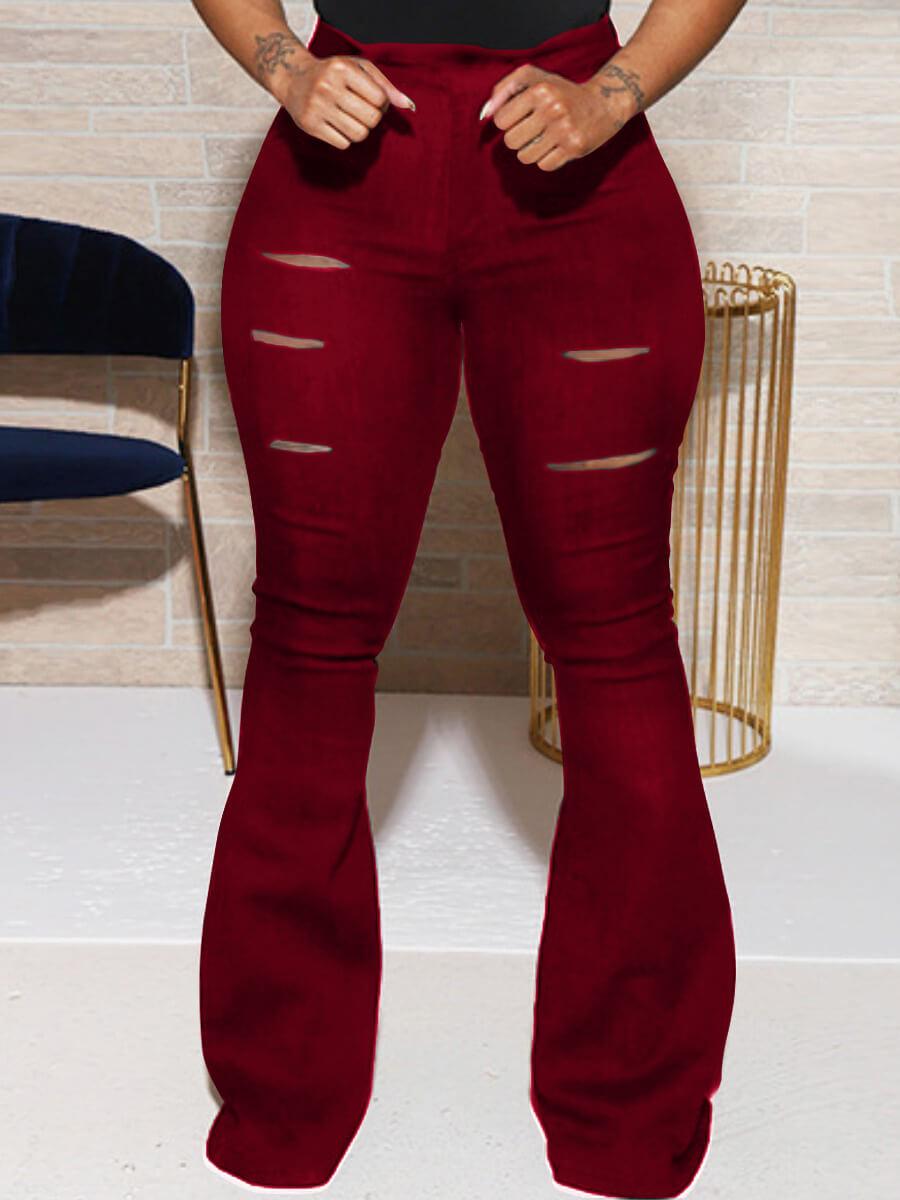 LW Lovely Street Broken Holes Wine Red Pants