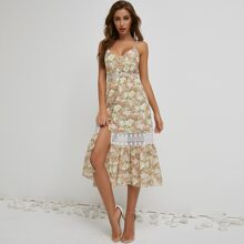 Button Front Lace Insert Floral Cami Dress