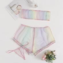 Set de lenceria fina gradiente con tanga