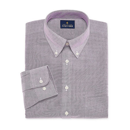 Stafford Mens Wrinkle Free Oxford Button Down Collar Fitted Dress Shirt, 15 34-35, Purple