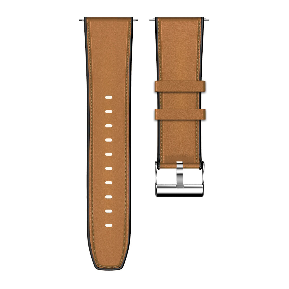 Kospet 24MM Head Layer Cowhide Silicone Watch Band Strap for Smart Watch Kospet Prime Optimus Pro Optimus Hope Brave Lit