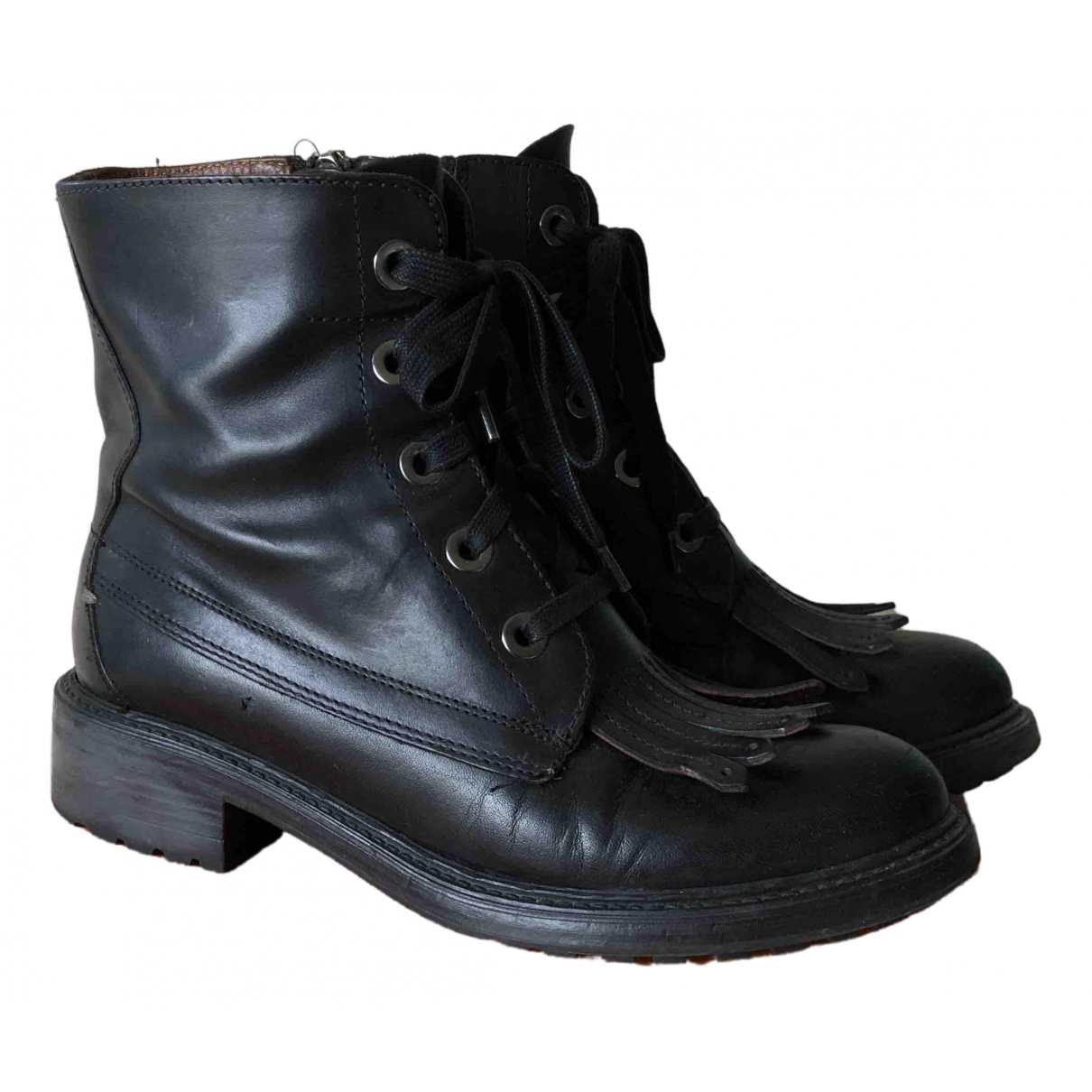 Boss N Black Leather Boots for Women 36.5 EU