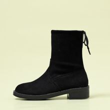 Suede Round Toe Ankle Boots