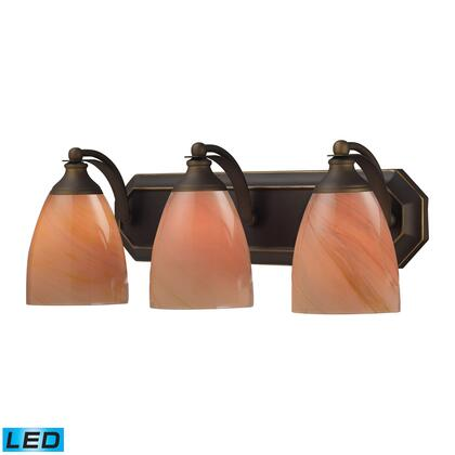 570-3B-SY-LED 3 Light Vanity in Aged Bronze and Sandy Glass -