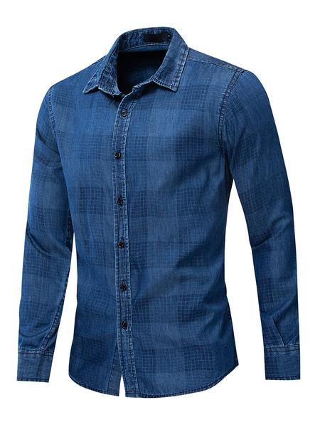 Milanoo Camisa vaquera regular fit para hombre en azul