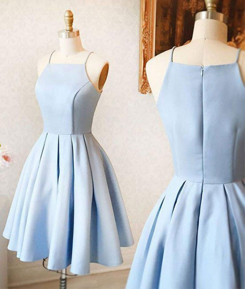 Correas espaguetis Mini vestido azul cielo Vestido de fiesta simple