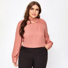 Plus Solid Keyhole Neck Ribbon Blouse