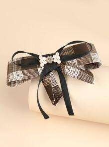 Plaid Pattern Bow Knot Decor Hair Clip