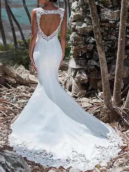 Milanoo Vestido de novia 2020 Sirena Encaje Joya Cuello Sin mangas Espalda Hollow Out Vestidos de novia con tren