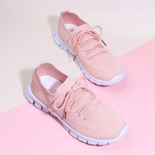 Lace-up Front Mesh Sock Sneakers