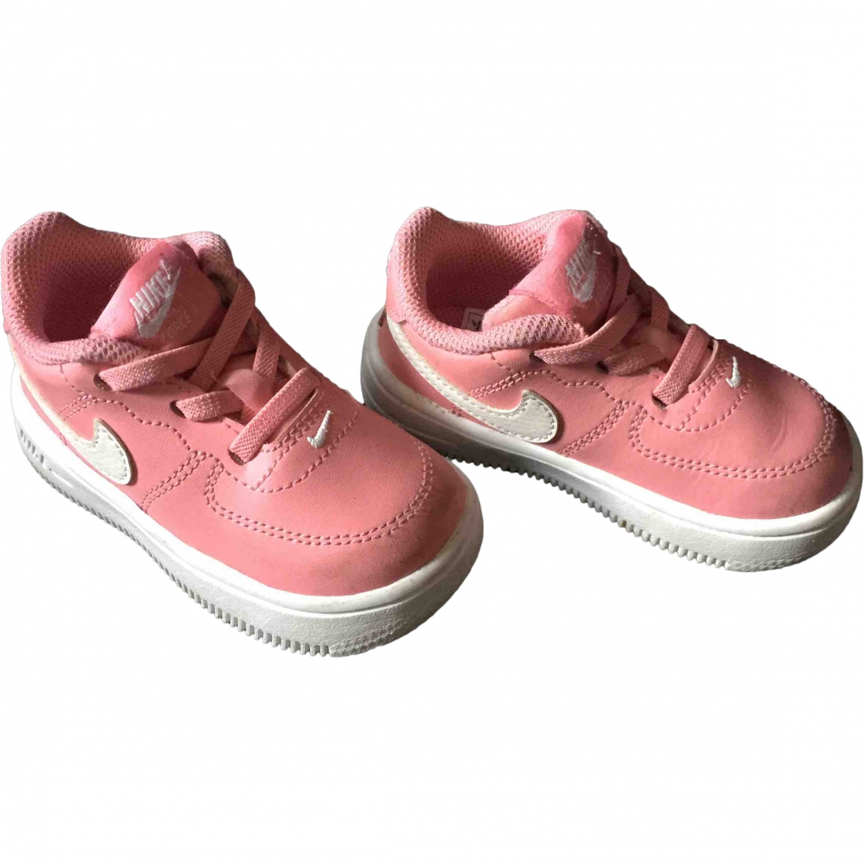 Nike Air Force 1 Pink Leather Trainers for Kids 21 EU
