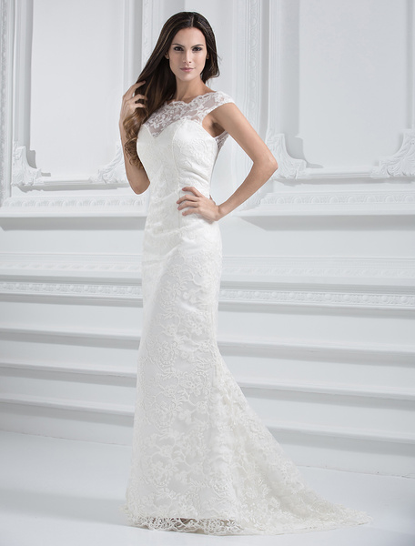 Milanoo Ivory Wedding Dress Off-The-Shoulder Mermaid Illusion Backless Lace Wedding Gown