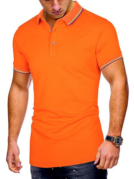 Milanoo Mens Polo Shirt Stripe Turndown Collar Short Sleeves Buttons Summer Tops